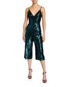 Aidan by Aidan Mattox Stripe Sequin V-Neck Sleeveless