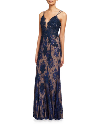 V-Neck Spaghetti-Strap Lace Column Gown