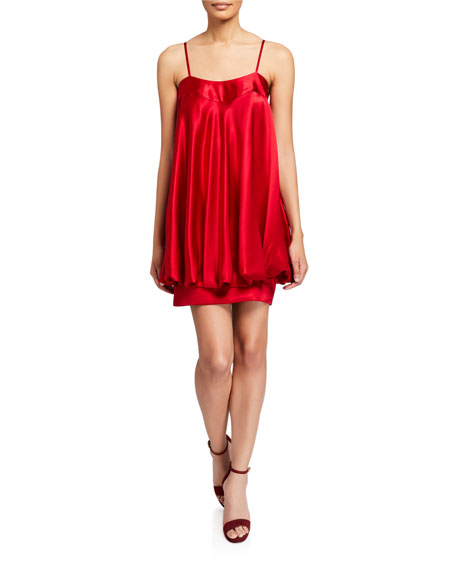 Jovani Satin Bow-Back Short Bubble Dress