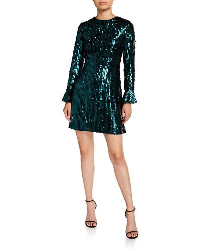 Sequin Long-Sleeve Mini Cocktail Dress