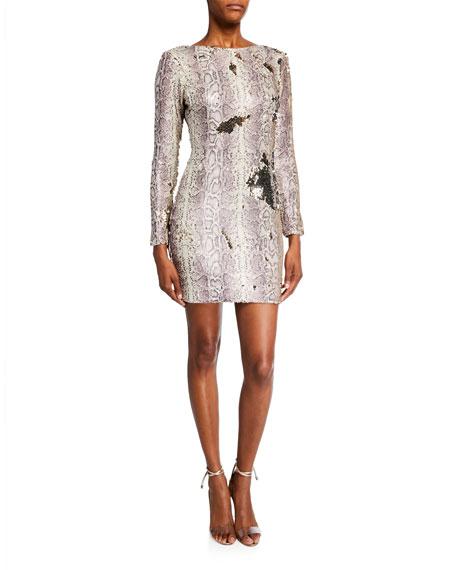 Dress The Population Lola Sequin Python Long-Sleeve Mini Dress