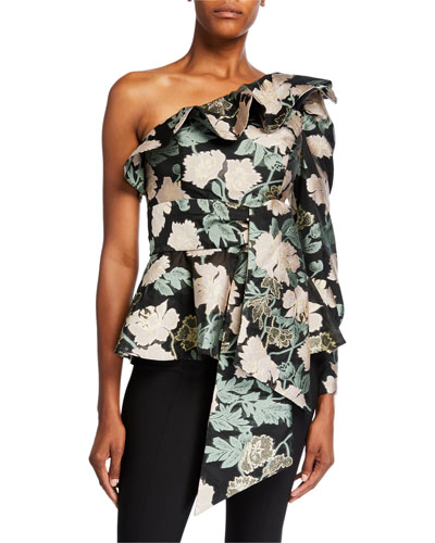 Micaela Floral Jacquard One-Shoulder Ruffle Top