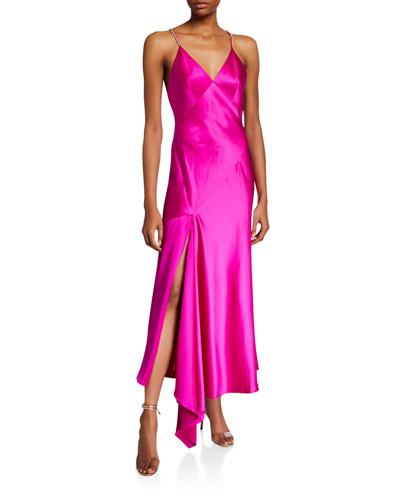 Rhinestone Strap V-Neck Satin Slip Gown
