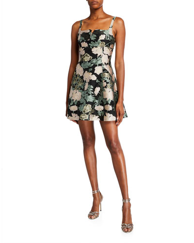 Celine Metallic Floral Jacquard Sleeveless Mini Dress