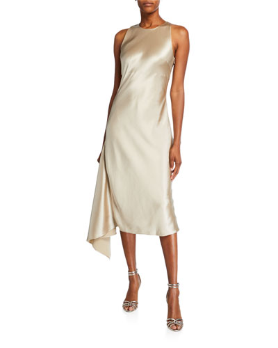 Alana Satin Midi Asymmetric Side-Drape Slip Dress