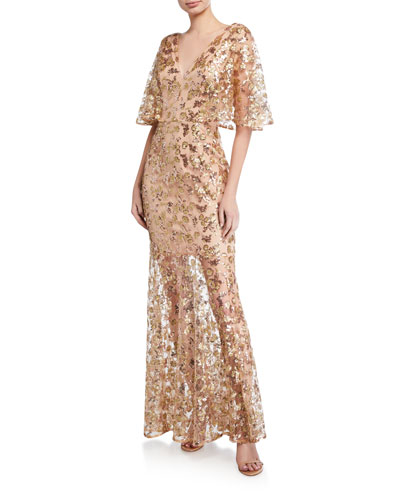 Lourdes Sequin V-Neck Flutter-Sleeve Illusion Gown