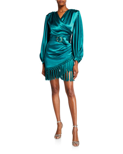 Monicat Long-Sleeve Satin Wrap Dress with Fringed Hem