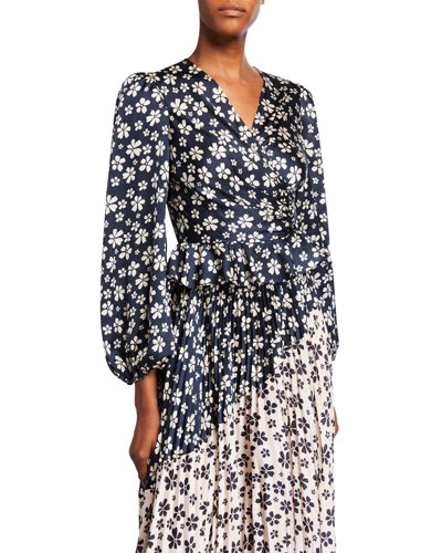 Marianne Floral Ruched Blouson-Sleeve Peplum Blouse