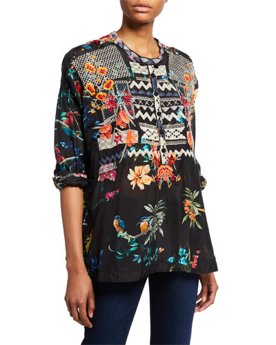 Veda Silk-Print Blouse with Embroidery