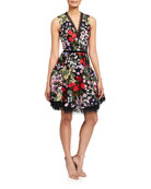 Bronx and Banco Alicia Floral Embroidered V-Neck Sleeveless