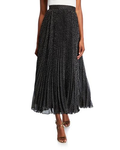 Foil-Print Pleated Midi Skirt
