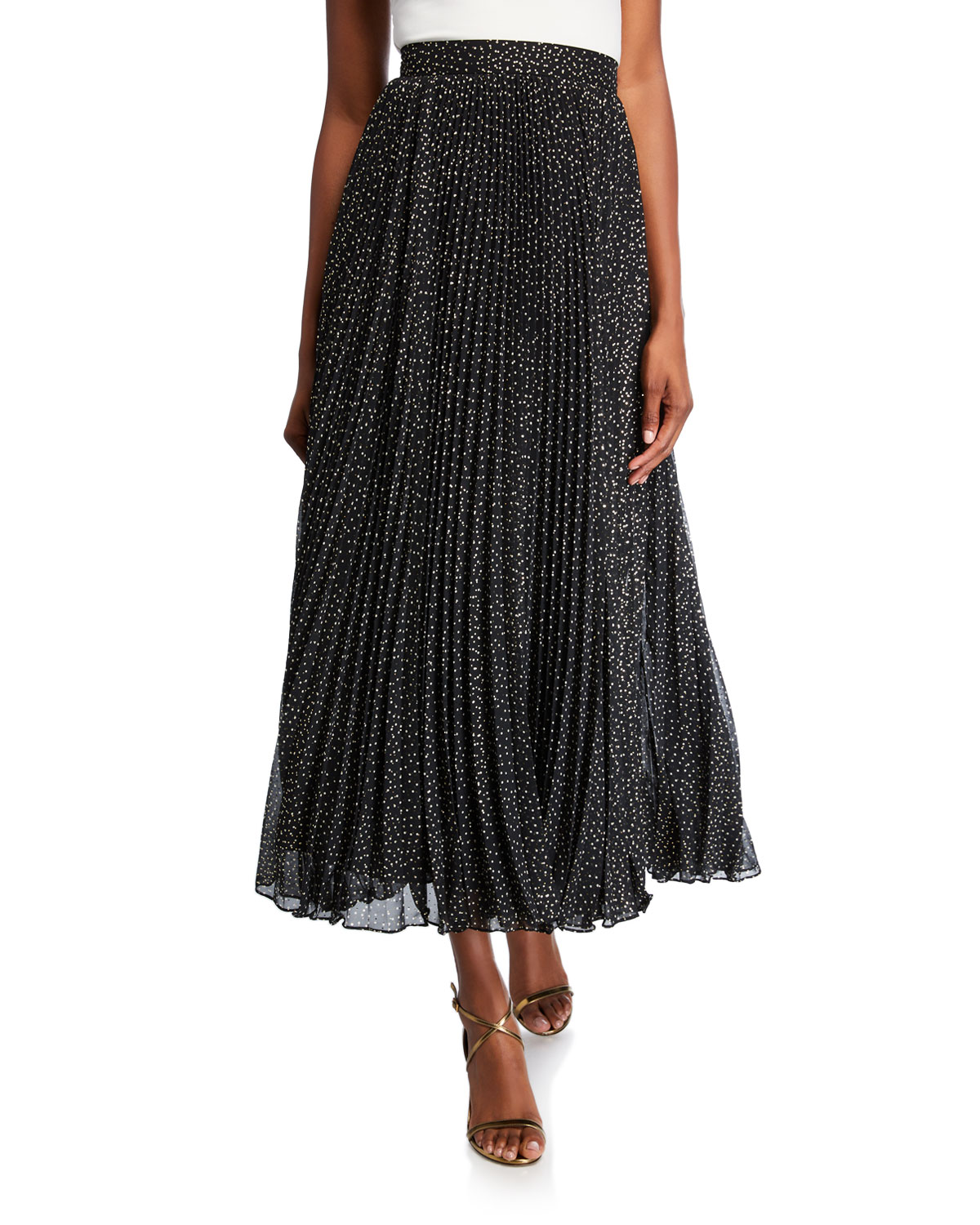 Jill Stuart FOIL-PRINT PLEATED MIDI SKIRT