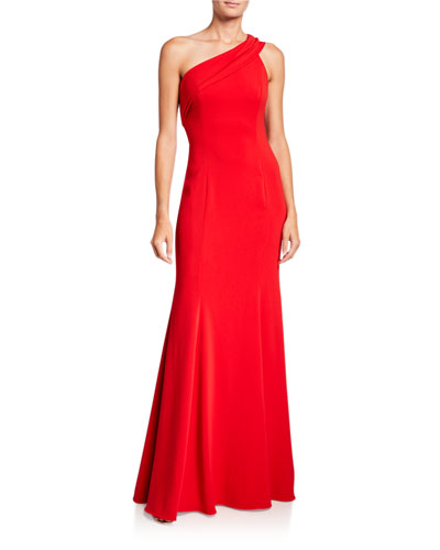 Stone One-Shoulder Column Gown