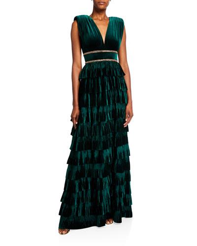 Deep V-Neck Sleeveless Tiered Velvet Gown w/ Waist Trim