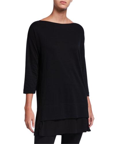 Plus Size Mixed Media 3/4-Sleeve Tunic