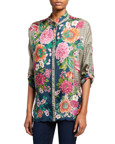 Jenna Floral Button-Front Silk Blouse