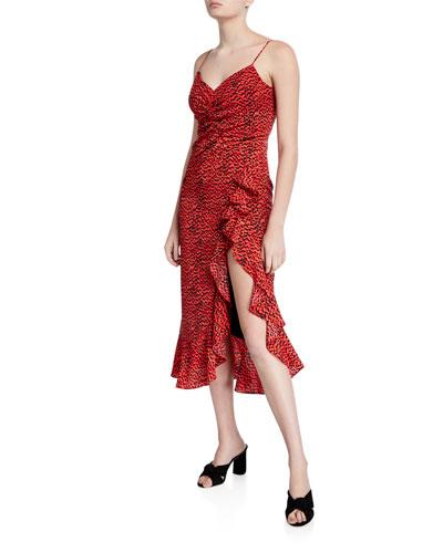 Lexie Printed Flounce Midi Dress