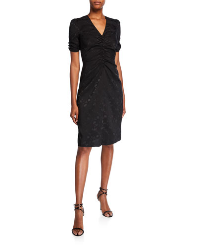 Ruched V-Neck Short-Sleeve Jacquard Dress