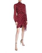 Bardot Kalia Printed Long-Sleeve Draped Dress