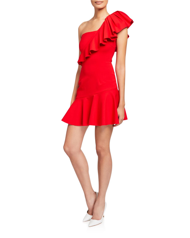Elliatt Dresses POMPEII ONE-SHOULDER SHORT RUFFLE DRESS
