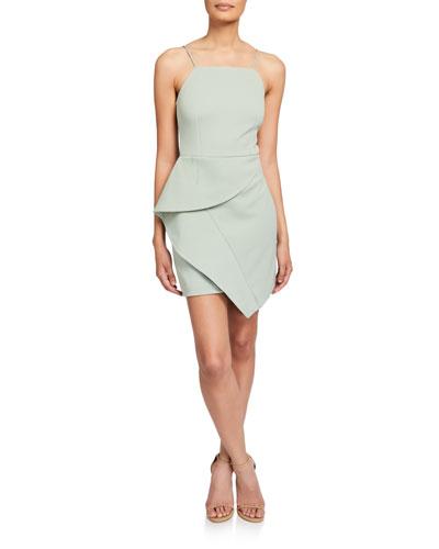 Affagato Sleeveless Asymmetric Drape Mini Dress