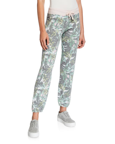 Palm-Print Basic Sweatpants