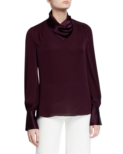 Nathalie Mock-Neck Long-Sleeve Silk Satin & Chiffon Blouse