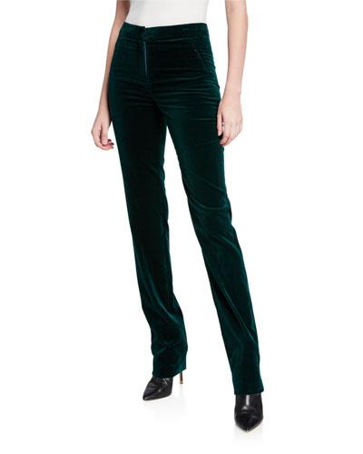 Leena Straight-Leg Velvet Pants