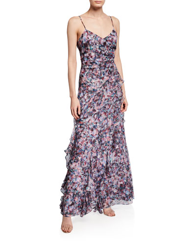 Barcelo Printed Silk Chiffon  Gown with Side Ruffles