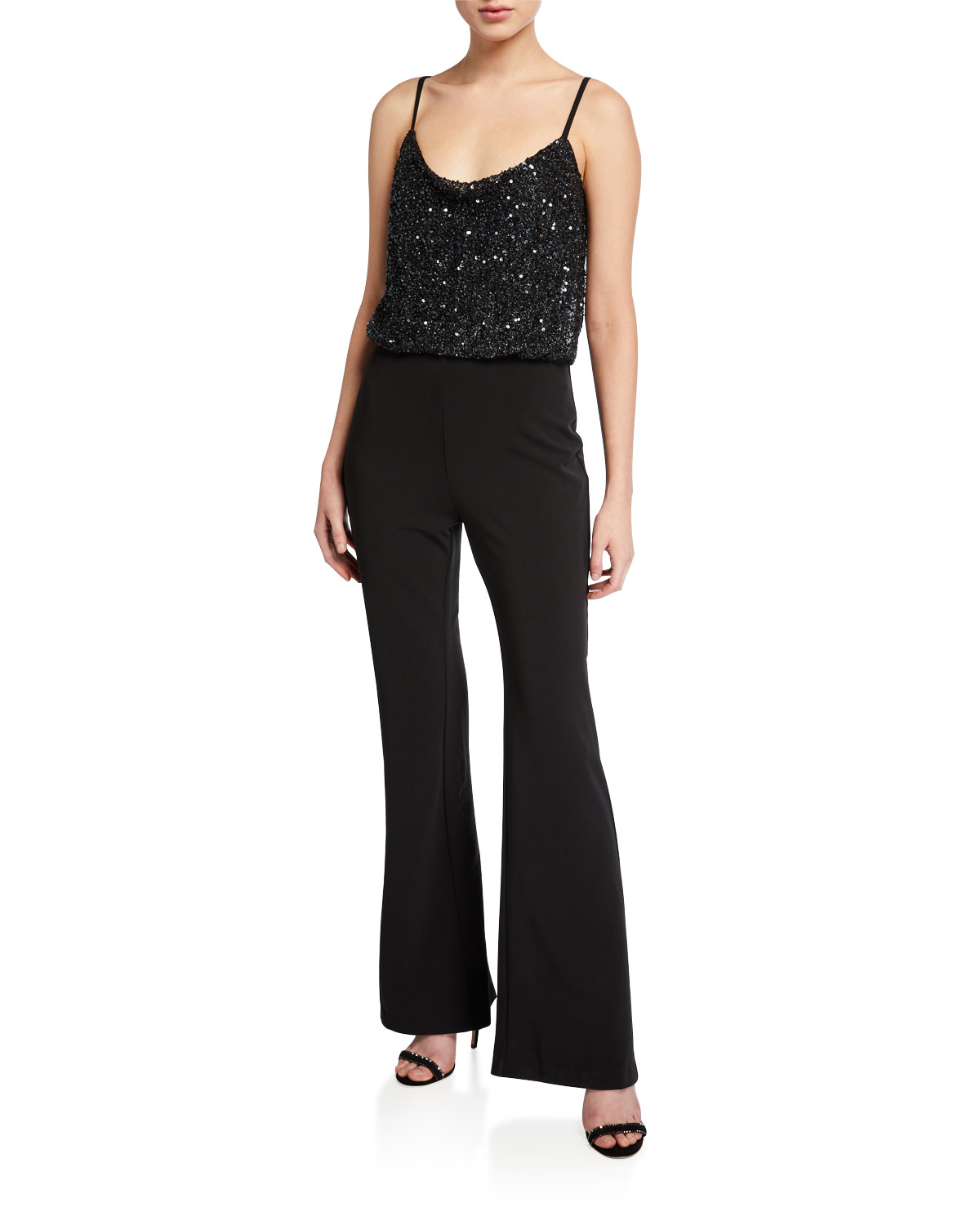 Parker Black Suits PERTH BEADED-BODICE SLEEVELESS STRETCH CREPE FLARE-LEG JUMPSUIT