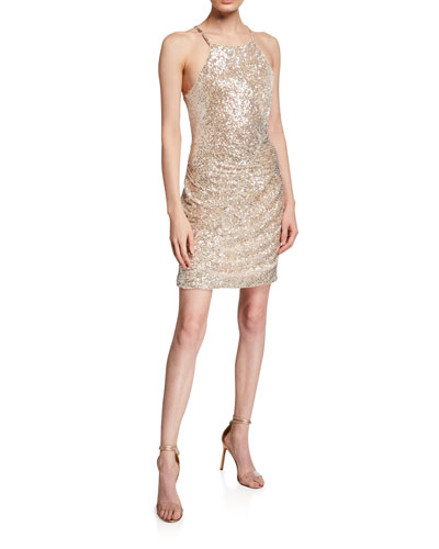 Alina Sequin Bodycon Mini Halter Dress with Ruching