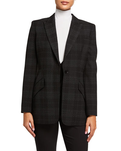 Madison Plaid One-Button Jacket