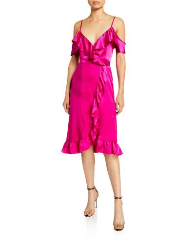 Cold-Shoulder Ruffle-Trim Silk Midi Wrap Dress