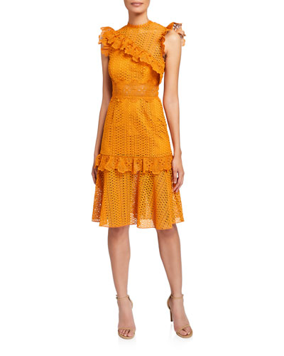 Ivy Sleeveless Lace Cocktail Dress with Ruffle Trim