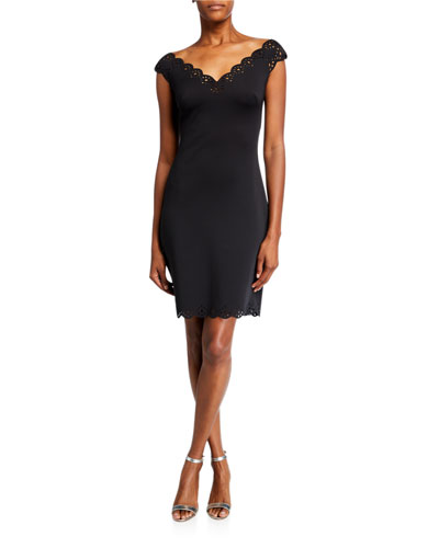 Lattice Edge V-Neck Cap-Sleeve Sheath Dress
