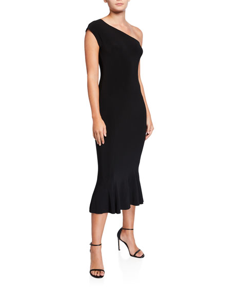 Norma Kamali One-Shoulder Midi Fishtail Dress