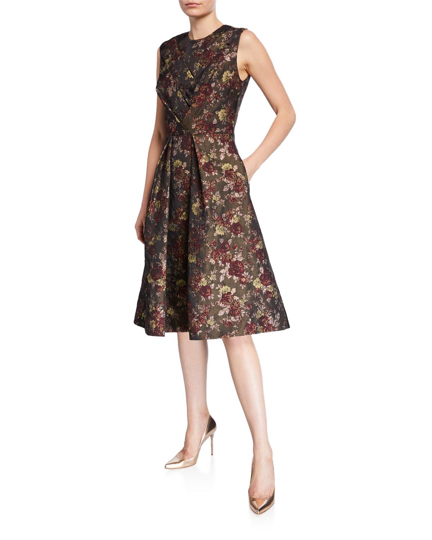 Kay Unger Dresses ADRIANNA FLORAL JACQUARD DRESS W/ POCKETS