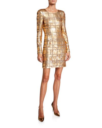 Ava Geometric Sequin Long-Sleeve Sheath Dress