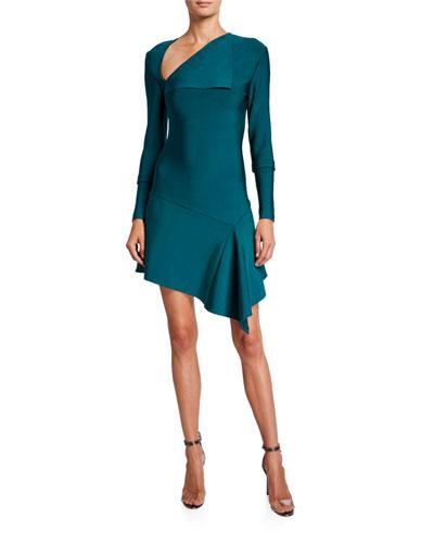 Donna Asymmetric Long-Sleeve Knit Dress