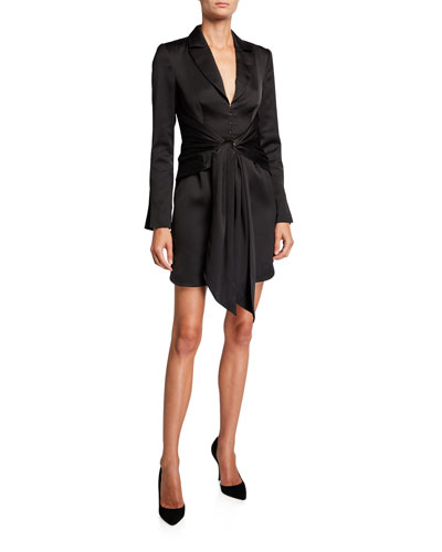 Tegan Wrap-Front Long-Sleeve Mini Shirtdress