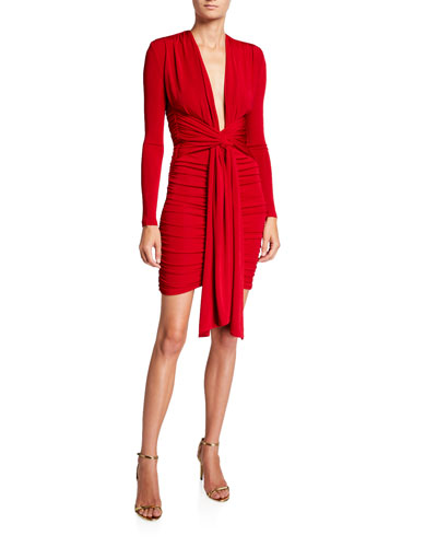 Paola Long-Sleeve Plunging Draped-Front Ruched Dress