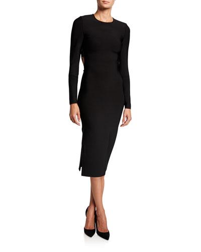 Stacey Long-Sleeve Cutout Back Buckle Detail Dress