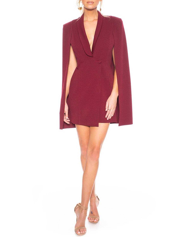 Katie May Dresses BOSS LADY MINI CAPE DRESS