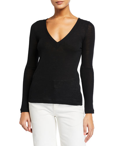 Open V-Neck Long-Sleeve Wool Sweater