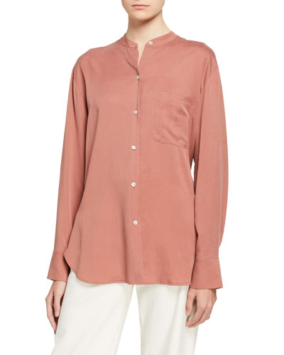 Relaxed Band Collar Button-Down Blouse