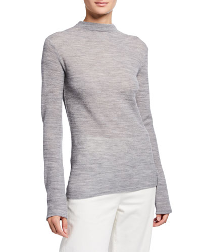 Long-Sleeve Funnel-Neck Wool Top