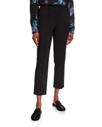Pintuck Stovepipe Cropped Pants