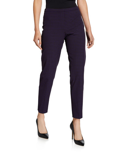 Marcia Grid Straight-Leg Ankle Pants