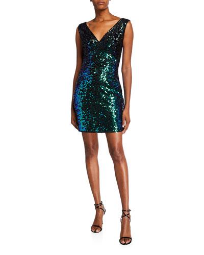 Sequin V-Neck Sleeveless Short Cocktail Dress