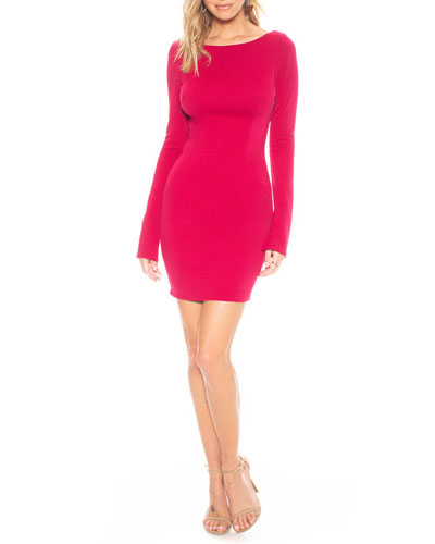 Glisten Long-Sleeve Mini Cowl-Back Dress